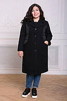 Donna-M Комбинированное пальто ПИРС черное , фото 1