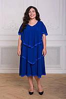 Donna-M Платье с оборками ДЕВИС электрик , фото 1