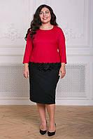 Donna-M Комбинированный костюм из крепа КЕЙСИ красный , фото 1