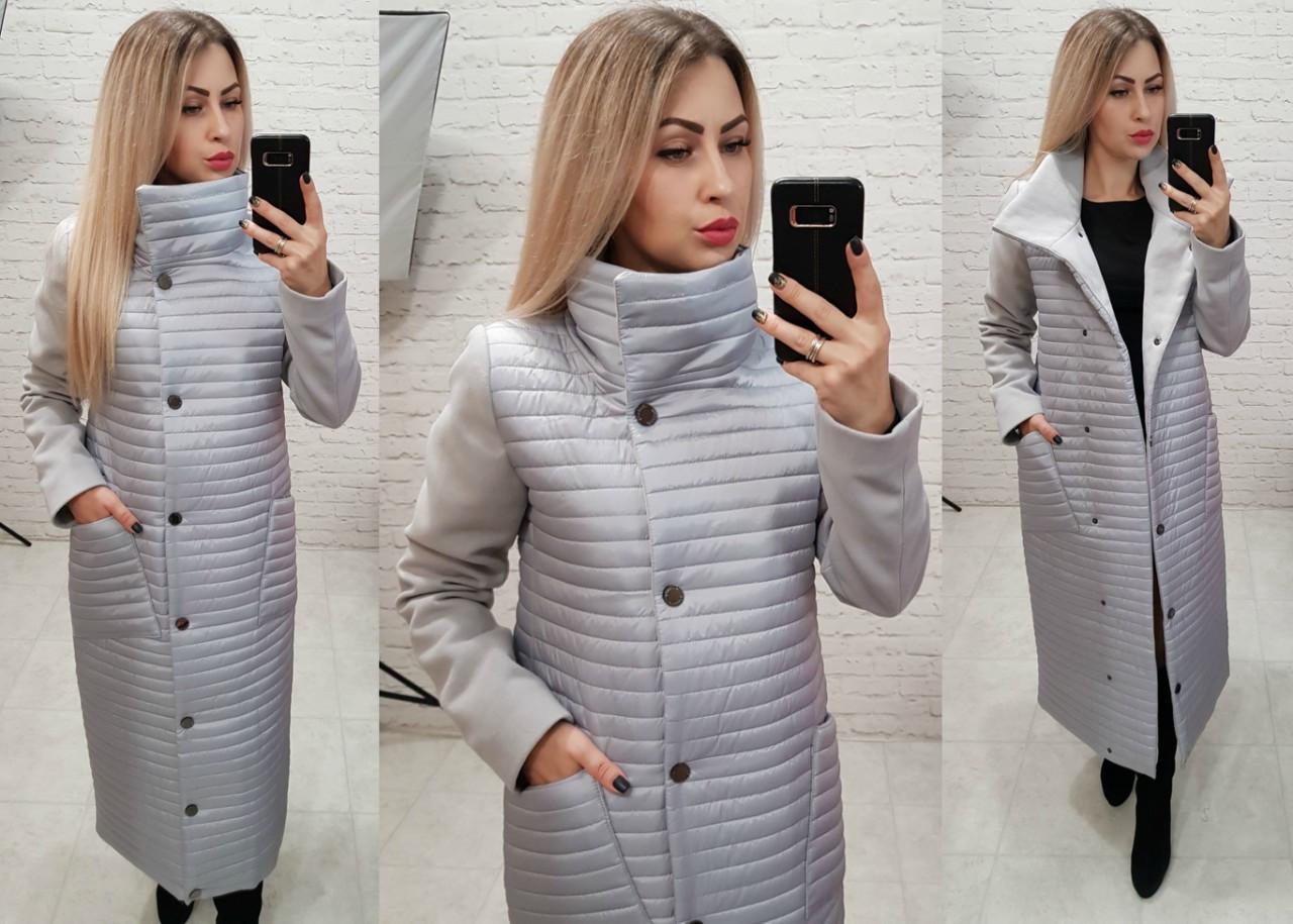 Пальто куртка кокон арт. 138 серое жемчужное