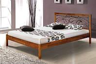 """Кровать  из массива дерева с элементами ковки """"Карина"""""""