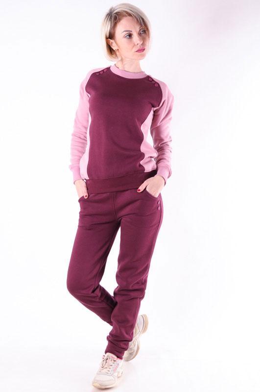 Женский спортивный костюм теплый  бордовый размер 46
