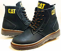 Ботинки зимние мужские кожаные CAT model - B100  black Польша