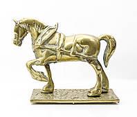 Старая скульптура, конь, лошадь, латунь, Англия, фото 1