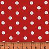 Ткань в горошек красно-белая, № dot-red-3, хлопок 100%, средний принт
