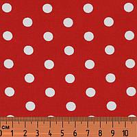 Ткань в горошек красно-белая, № dot-red-3, хлопок 100%, средний принт, фото 1