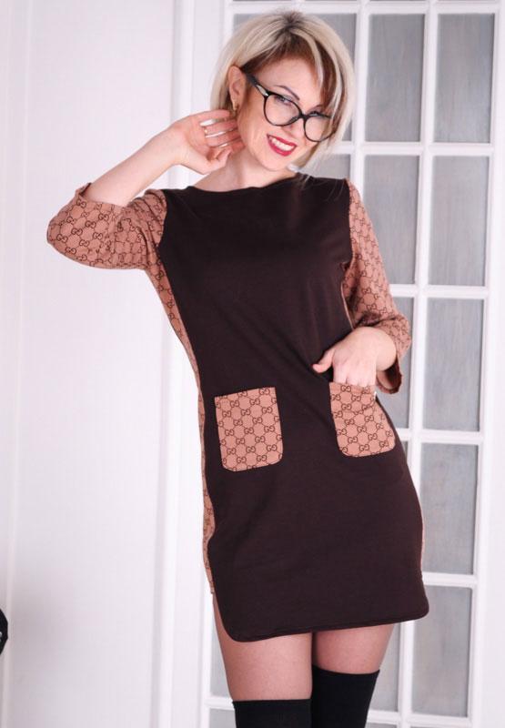 """Женское платье  трикотажное коричневое  """"chocolate"""" размер 40"""