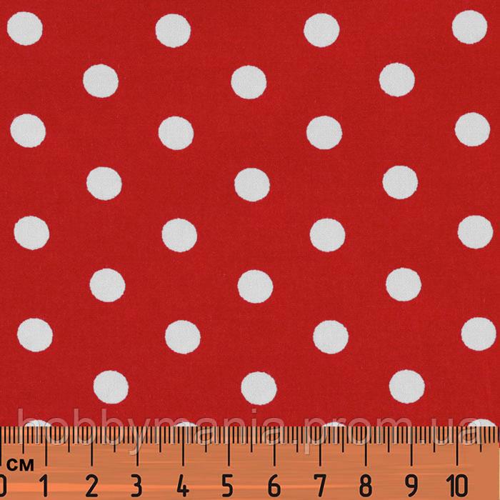 14464d8d808b Ткань в мелкий горошек красно-белая, № dot-red-1, хлопок 100 ...