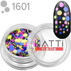 KATTi Блестки в баночке камифубуки 1601 mix dot круглые синие, желтые, розовые 2г
