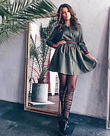 Осеннее короткое платье на молнии (К24783), фото 1