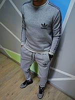 Утеплений спортивний костюм Adidas Адідас сірий з лампасами (РЕПЛІКА), фото 1