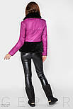 Зимняя теплая куртка розового цвета с мехом, фото 4