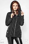 Черная стеганая куртка с капюшоном, фото 2