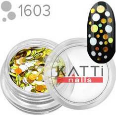 KATTi Блестки в баночке камифубуки 1603 mix dot круглые золотые, белые 2г