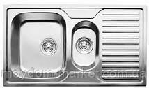 Мийка CRISTAL 7302 прямокутна подвійна з полицею, врізна 880x500x180 Decor