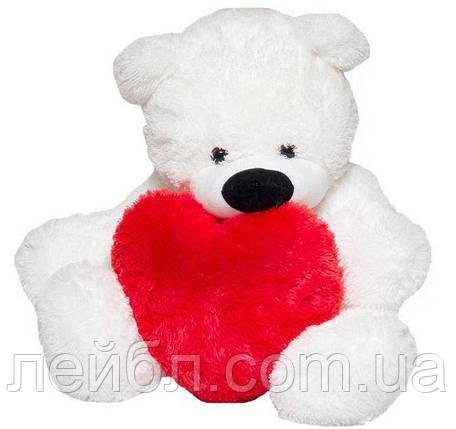 Большой плюшевый белый медведь Бублик с сердцем, 180 метра, фото 2