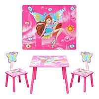 Набор столик и два стульчик «Винкс» D 11551 деревянный, для девочек,розовый