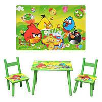 Детский столик со стульчиками D 11552 «Злые птички», деревянный