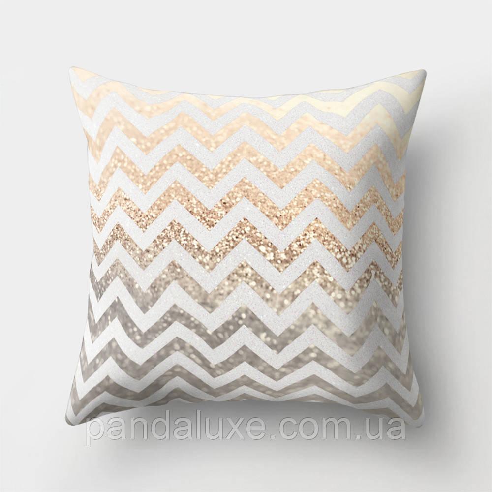 Подушка декоративная для дивана Золотой зигзаг 45 х 45 см