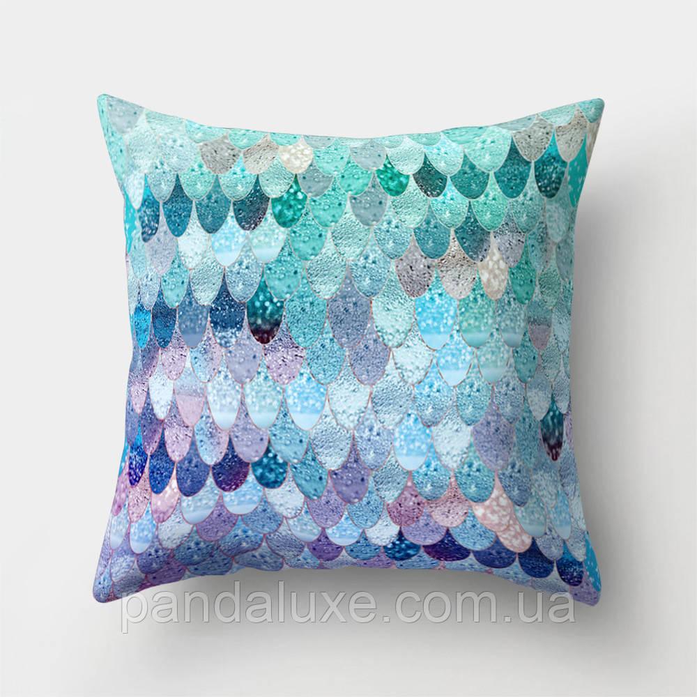 Подушка декоративная для дивана Фиолетово-бирюзовые узоры 45 х 45 см