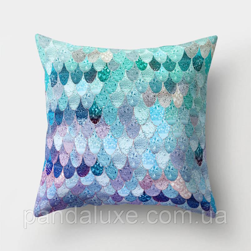 Подушка декоративная для дивана Фиолетово-бирюзовые узоры 45 х 45 см, фото 2