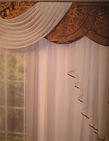 """Готовый ламбрекен """"Пегас""""  Ширина ламбрикена: 300см  Глубина средней части:  50см  Длинна крайних хвостов: 120см  Способ подвеса: пришита шторная лента для крючков."""