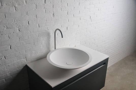 Раковина накладная каменная  круглая Solid surface Φ515x105mm