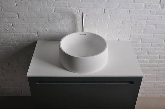 Раковина накладная каменная  круглая Solid surface ø420*150 mm