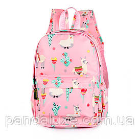 Підлітковий Рюкзак шкільний для дівчинки рожевий Лами