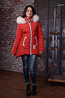 Donna-M Пуховик зимний на синтепоне с опушкой из песца ANGELIKA цвет красный ANG01, фото 1