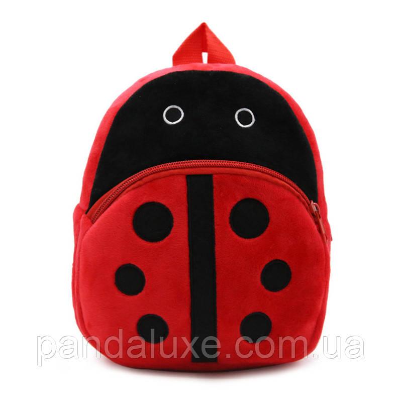 Рюкзак детский велюровый маленький Божья коровка, фото 2