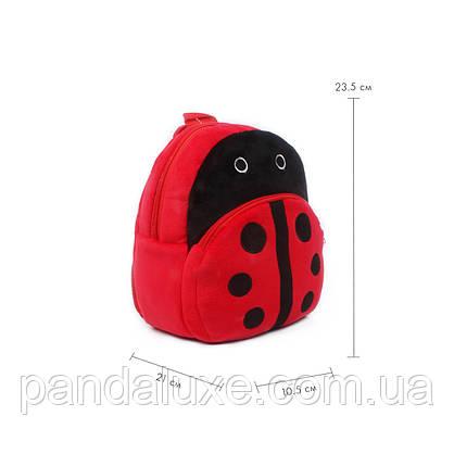 Рюкзак детский велюровый маленький Божья коровка, фото 3