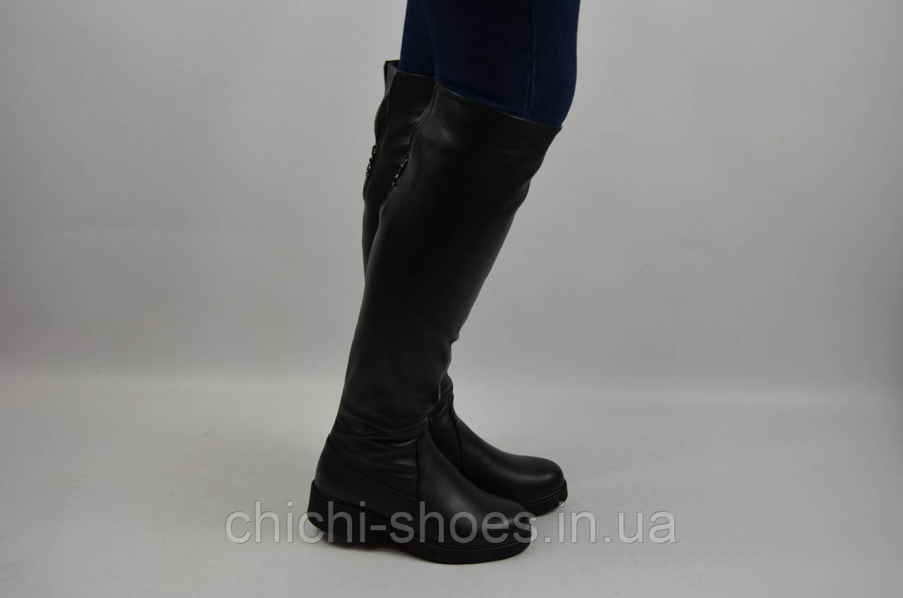 Сапоги-ботфорты женские зимние Kluchini 13003-232 чёрные кожа