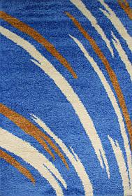 "Ворсистый лохматый ковер шагги ""Салют"" синий 8061"