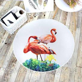 Килимок Two Flamingos на гумовій основі з фламінго 100 х 100 см
