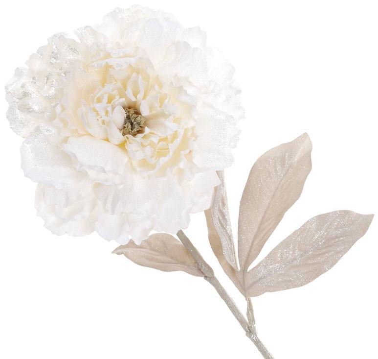 Декоративный цветок Пион с легким глиттером на лепестках, цвет - сливочно-белый (709-372)