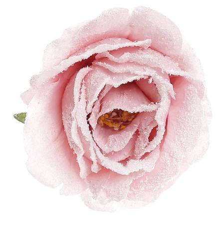Декоративный цветок Роза на клипсе 9см бледно-розовый в снегу (758-334), фото 2