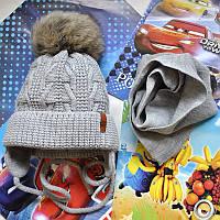Модная зимняя шапка и шарф для мальчика Grans (Польша)., фото 1