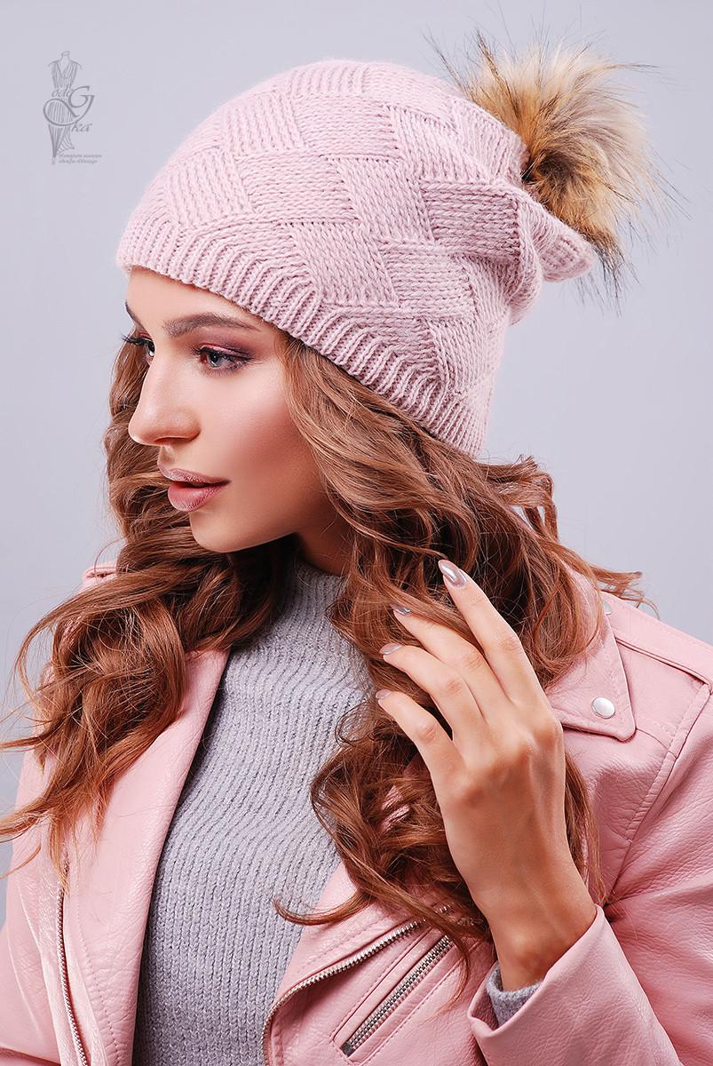 Вязаные женские шапки Нана-6 нить шерсть-акрил
