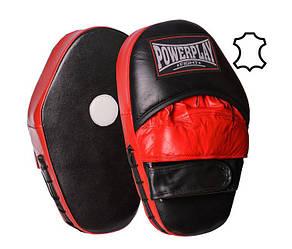 Боксерские лапы PowerPlay 3063 Черный-Красный [натуральная кожа [пара]