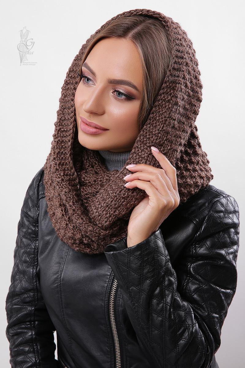 Вязаный шарф Снуд Корни-4 из смесовой пряжи шерсть-акрил