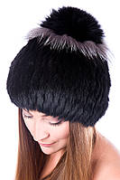 Зимняя женская шапка из меха Кролика на трикотажной основе 17KV-007 Черный 21331f2116669