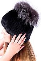 Женская шапка из меха кролика с бубоном из чернобурки 17KV-009 Черный e6560d2ab494b