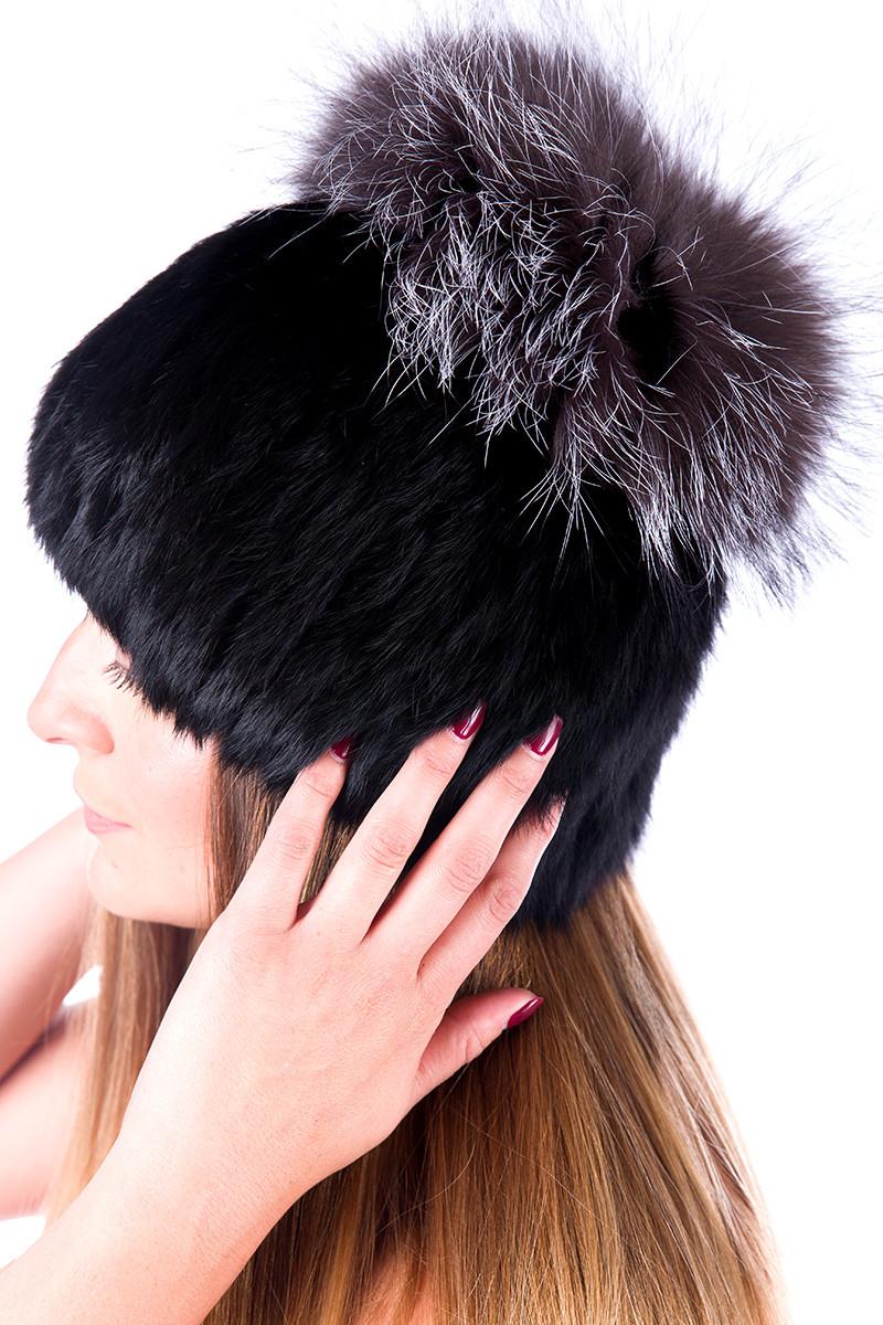 Женская шапка из меха кролика  с бубоном из чернобурки 17KV-009  Черный