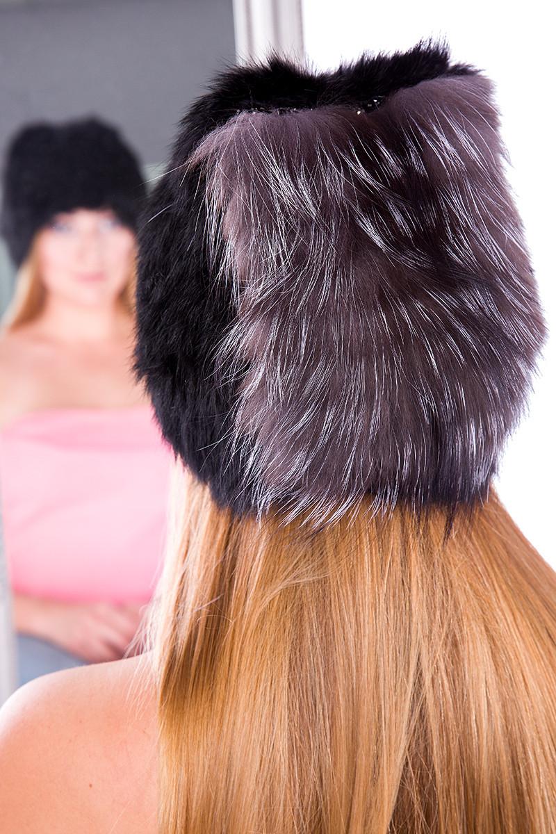 Женская зимняя шапка  из натурального  меха кролика и чернобурки 17KV-003  Черный