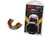 Детская капа Opro Junior Gold UFC Hologram Black Metal/Gold. До 10 лет
