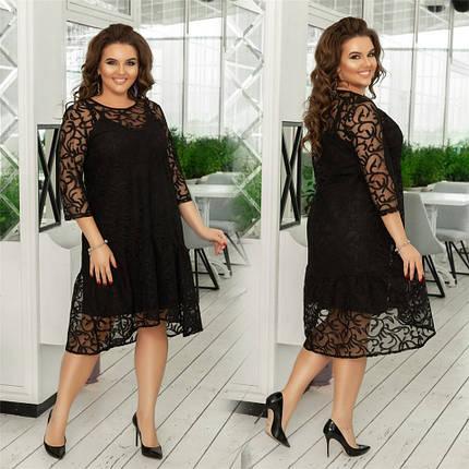 Нарядное гипюровое женское платье Чёрное. (2 цвета) Р-ры 48-54. (138)981., фото 2