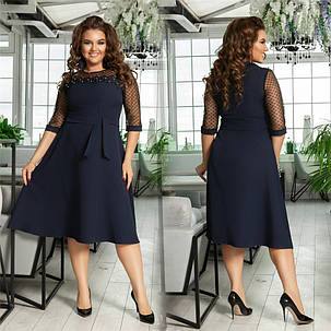 Хорошенькое женское платье с жемчугом Синее. (3 цвета) Р-ры: 48-54. (138)988. , фото 2