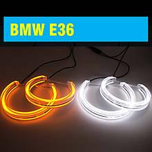 Ангельські оченята crystal (4*131 мм) LED для BMW E36 білий+жовтий