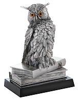 Фигурка - сова с книгами - 789L - посеребренная